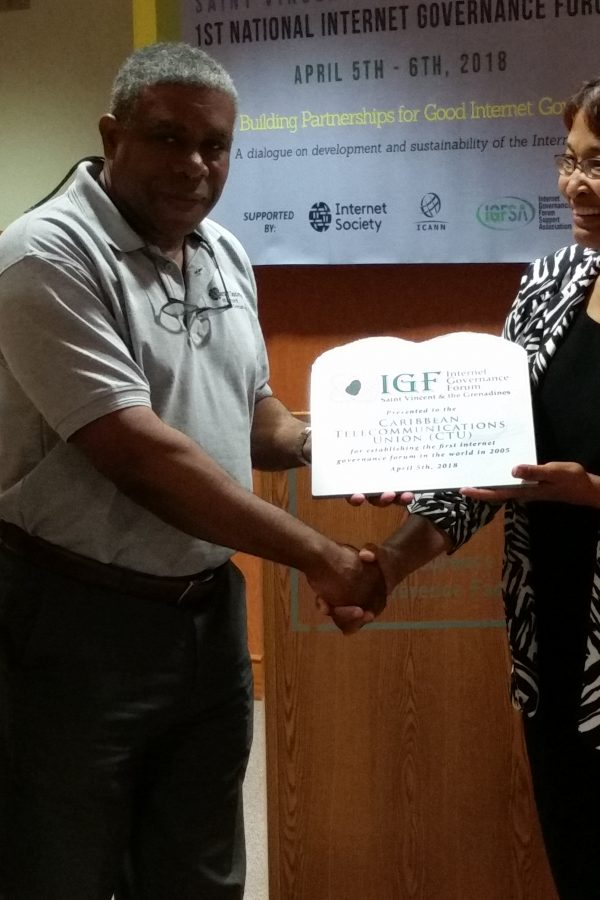 The Caribbean Telecommunications Union (CTU) recognized for its work in initiating the first